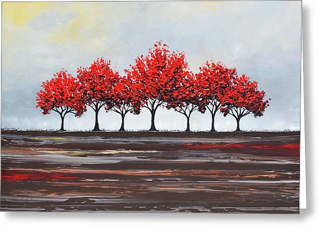 Artist Christine Krainock Greeting Cards - Unity - Red Trees Greeting Card by Christine Krainock