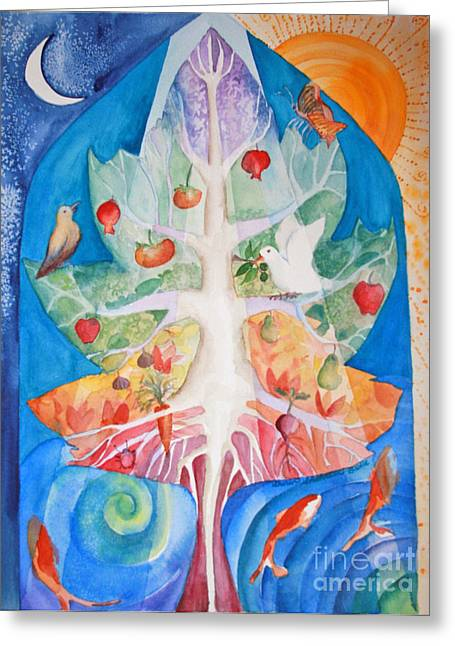 Tree Roots Paintings Greeting Cards - Unity Greeting Card by Shirin Shahram Badie