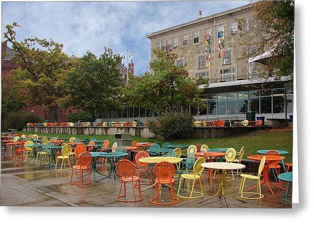 Student Union Photographs Greeting Cards - Univ. of Wisconsin patio  Greeting Card by BJ Karp