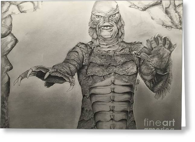 Creature From The Black Lagoon Greeting Cards - Universal Classics - The Creature Greeting Card by Chris Volpe