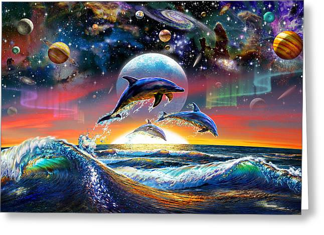Astral Greeting Cards - Universal Dolphins Greeting Card by Adrian Chesterman