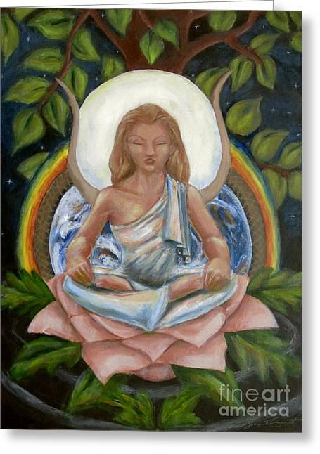 Hathor Paintings Greeting Cards - Universal Goddess Greeting Card by Samantha Geernaert
