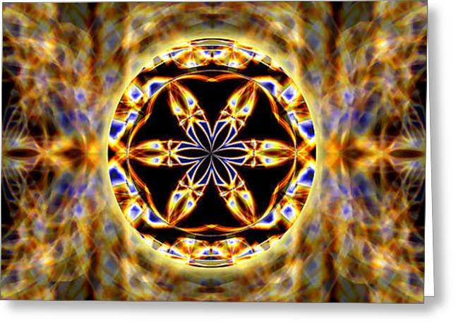 Geometric Image Greeting Cards - Universal Heart Fire Banner Greeting Card by Derek Gedney