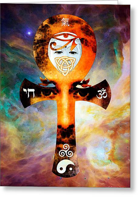 Unity Digital Art Greeting Cards - Universal Life - Harmony Artwork Greeting Card by Sharon Cummings
