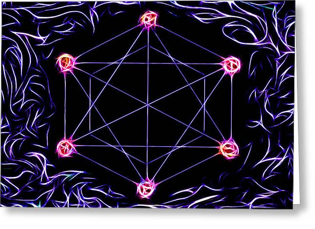 Indigo Chakra Greeting Cards - Universal Love Greeting Card by Mary Burr