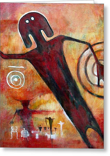 Petroglyph Greeting Cards - Universal man petroglyph Greeting Card by Derrick Higgins