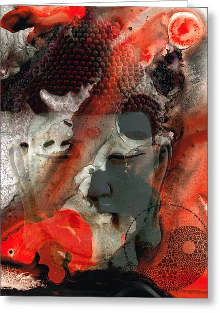 Heal Greeting Cards - Universal Qi - Zen Black And Red Art Greeting Card by Sharon Cummings