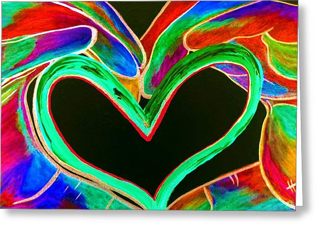 Souls Greeting Cards - Universal Sign for Love Greeting Card by Eloise Schneider