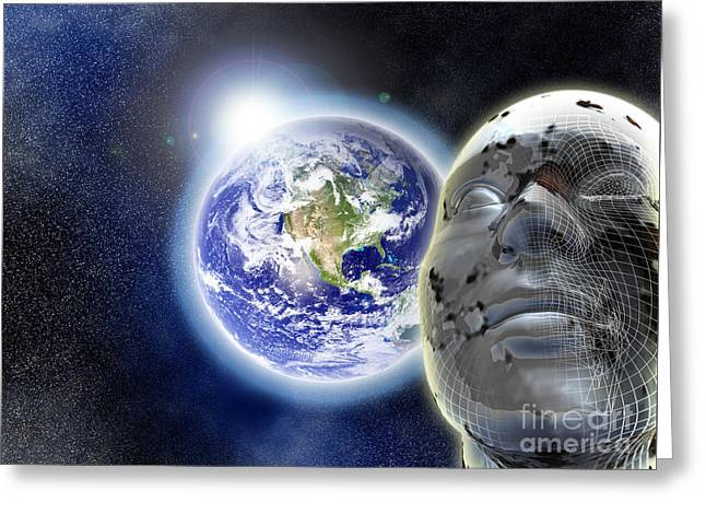 Alone In The Universe Greeting Card by Stefano Senise