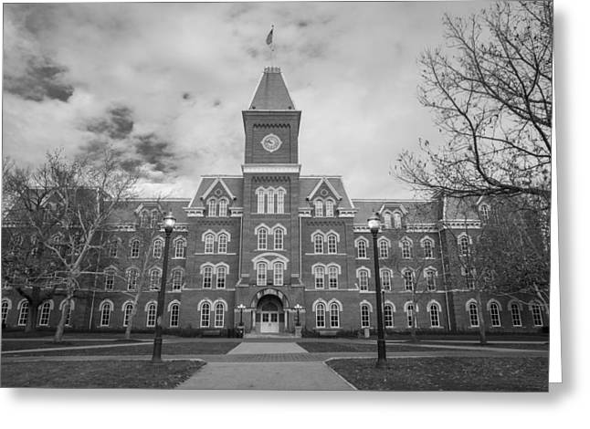 Ohio State University Greeting Cards - University Hall Black and White Greeting Card by John McGraw