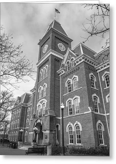 The Ohio State University Greeting Cards - University Hall from Side Black and White  Greeting Card by John McGraw