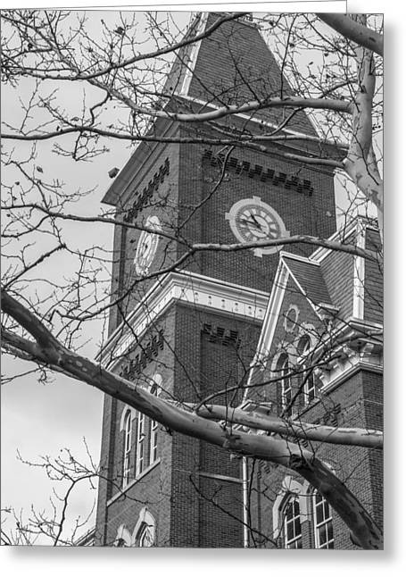 The Ohio State University Greeting Cards - University Hall Tower Black and White  Greeting Card by John McGraw