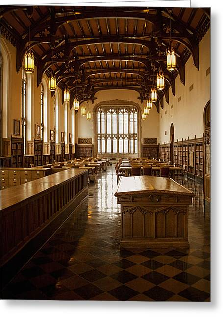 College Room Greeting Cards - University Library Greeting Card by Andrew Soundarajan