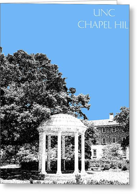 Pen And Ink Greeting Cards - University North Carolina Chapel Hill - Light Blue Greeting Card by DB Artist
