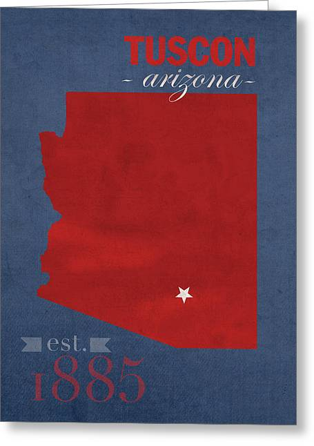 University Of Arizona Greeting Cards - University of Arizona Wildcats Tuscon Arizona College Town State Map Poster Series No 011 Greeting Card by Design Turnpike