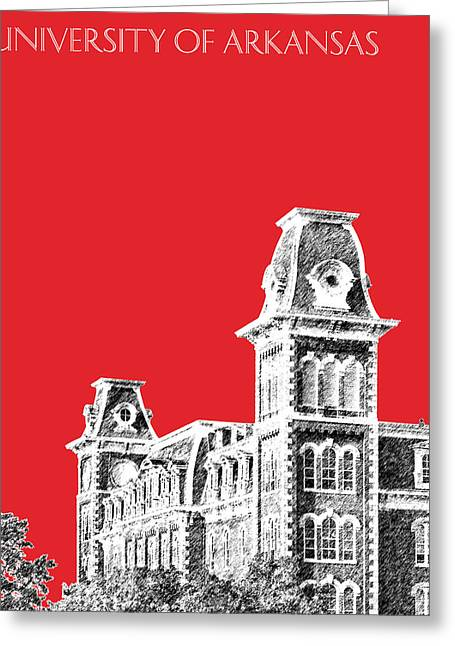 University Of Arkansas Greeting Cards - University of Arkansas - Red Greeting Card by DB Artist