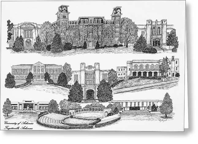 University Of Arkansas Greeting Cards - University of Arkansas Fayetteville Greeting Card by Jessica  Bryant
