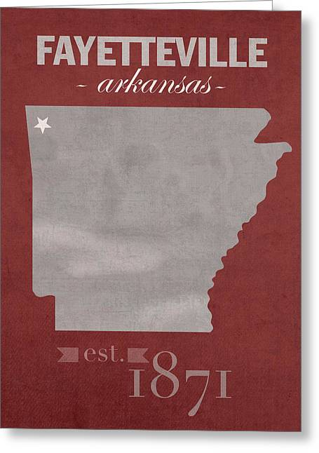 Arkansas State Map Greeting Cards - University of Arkansas Razorbacks Fayetteville College Town State Map Poster Series No 013 Greeting Card by Design Turnpike