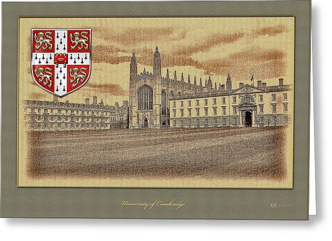 Coa Greeting Cards - University of Cambridge buildings overlaid with Official 3D Coat of Arms Greeting Card by Serge Averbukh