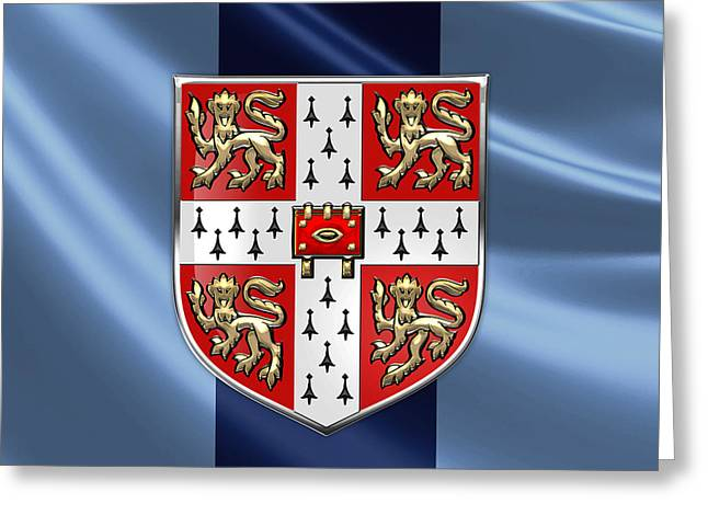 Patch Greeting Cards - University of Cambridge Seal - Coat of Arms over Colours Greeting Card by Serge Averbukh