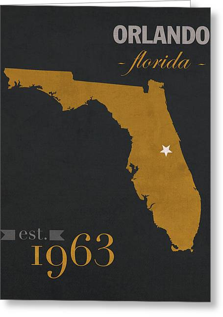 Knighted Greeting Cards - University of Central Florida Knights College Town State Map Poster Series No 027 Greeting Card by Design Turnpike