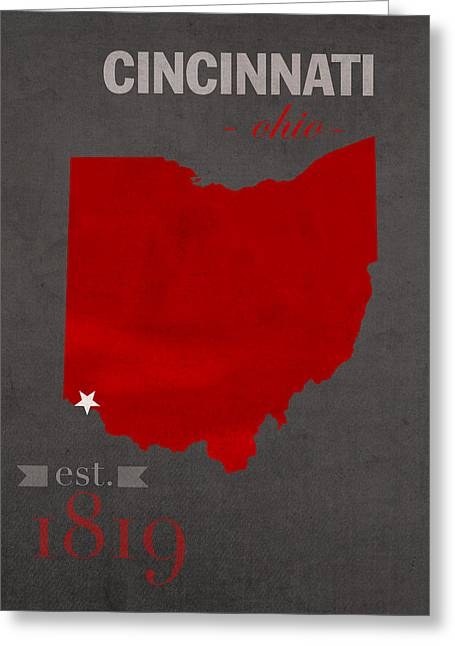 Ohio State University Greeting Cards - University of Cincinnati Bearcats College Town Ohio State Map Poster Series No 029 Greeting Card by Design Turnpike