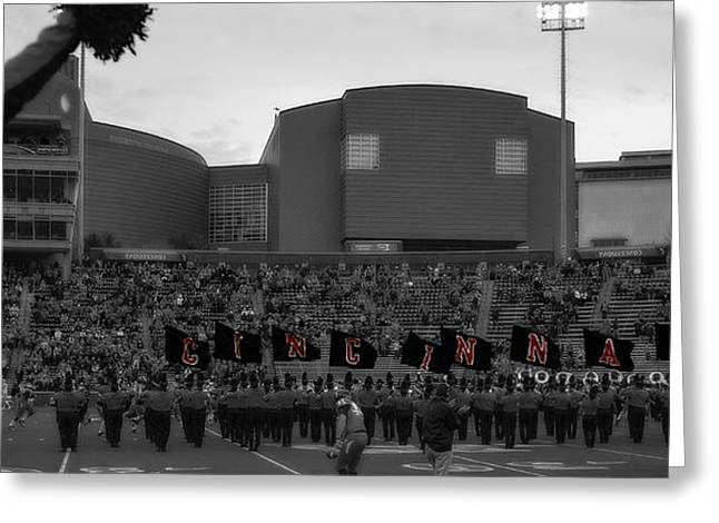 University Of Cincinnati Greeting Cards - University of Cincinnati Marching Band Greeting Card by Tom Climes