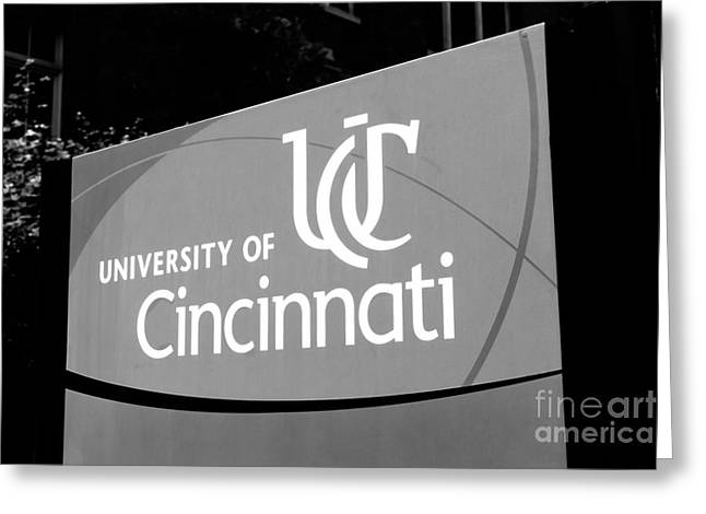 University Of Cincinnati Sign Black And White Picture Greeting Card by Paul Velgos