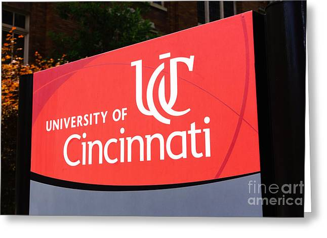 University Of Cincinnati Greeting Cards - University of Cincinnati Sign Greeting Card by Paul Velgos