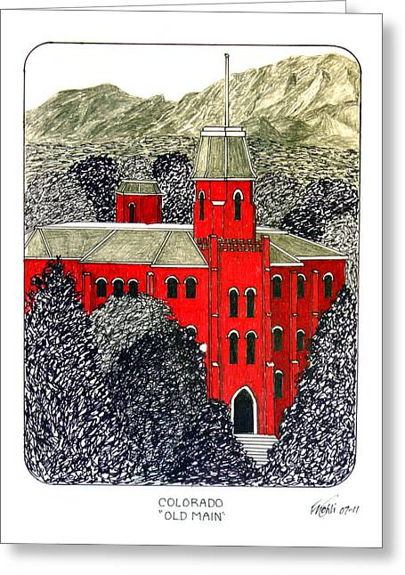 Famous University Buildings Drawings Greeting Cards - University of Colorado Greeting Card by Frederic Kohli