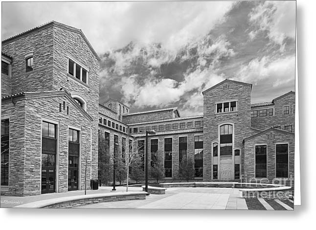 University Of Boulder Colorado Greeting Cards - University of Colorado Wolf Law Building Greeting Card by University Icons