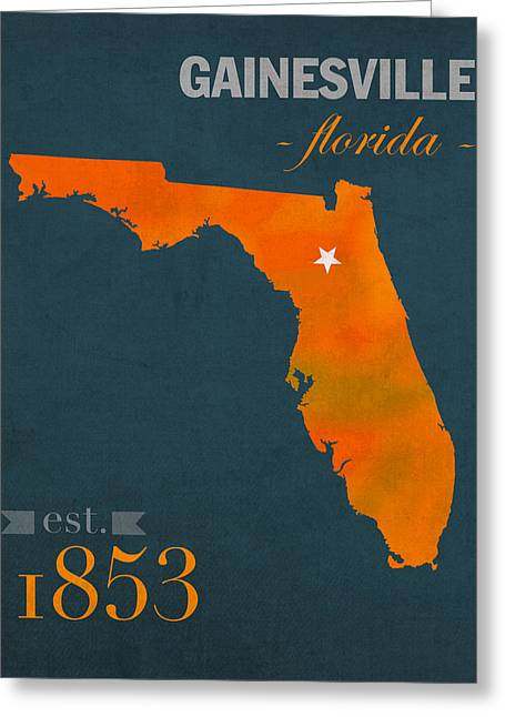 Gainesville Greeting Cards - University of Florida Gators Gainesville College Town Florida State Map Poster Series No 003 Greeting Card by Design Turnpike
