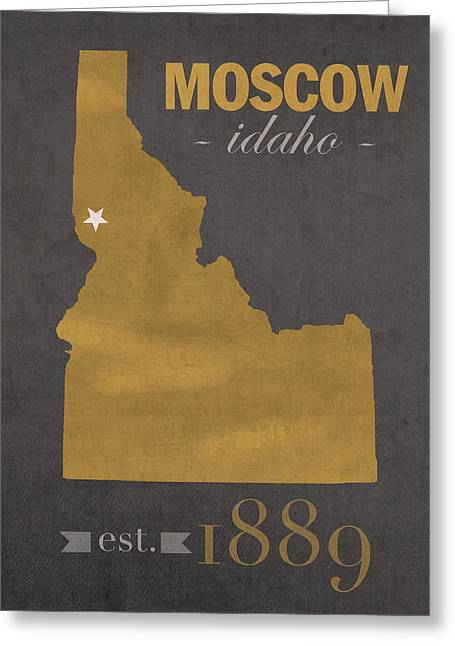 Town Mixed Media Greeting Cards - University of Idaho Vandals Moscow College Town State Map Poster Series No 046 Greeting Card by Design Turnpike