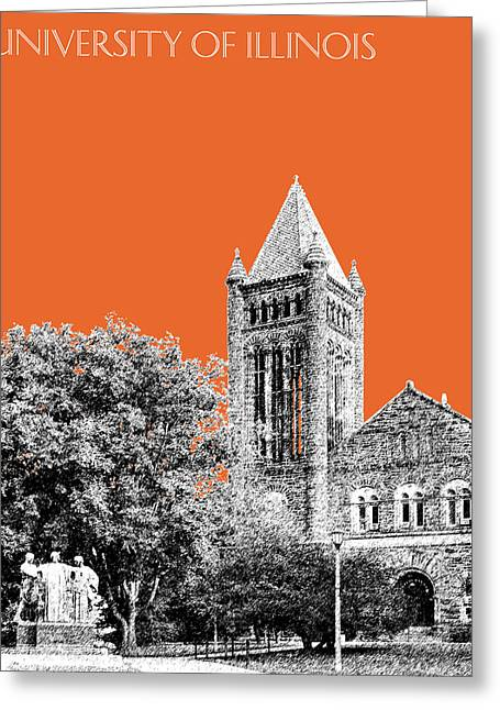 Duke Greeting Cards - University of Illinois 2 - Altgeld Hall - Coral Greeting Card by DB Artist