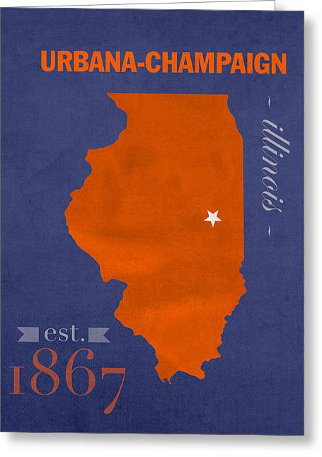 Town Mixed Media Greeting Cards - University of Illinois Fighting Illini Urbana Champaign College Town State Map Poster Series No 047 Greeting Card by Design Turnpike