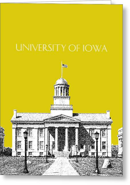 Capitol Digital Greeting Cards - University of Iowa - Mustard Yellow Greeting Card by DB Artist