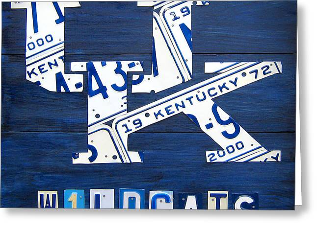 Wildcat Greeting Cards - University of Kentucky Wildcats Sports Team Retro Logo Recycled Vintage Bluegrass State License Plate Art Greeting Card by Design Turnpike