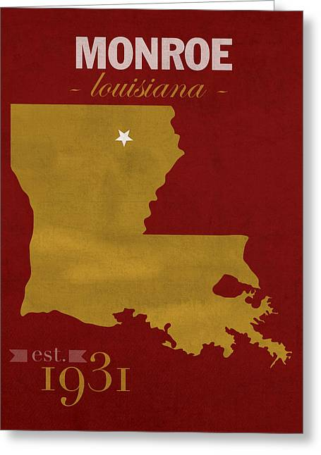 Warhawk Greeting Cards - University of Louisiana Monroe Warhawks College Town State Map Poster Series No 058 Greeting Card by Design Turnpike