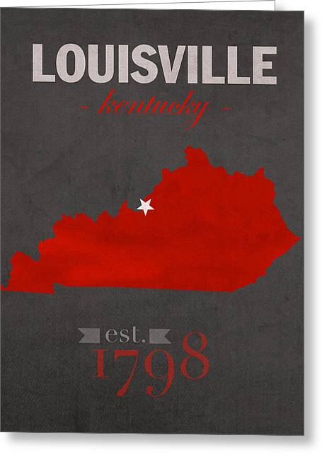 Duke Mixed Media Greeting Cards - University of Louisville Cardinals Kentucky College Town State Map Poster Series No 059 Greeting Card by Design Turnpike
