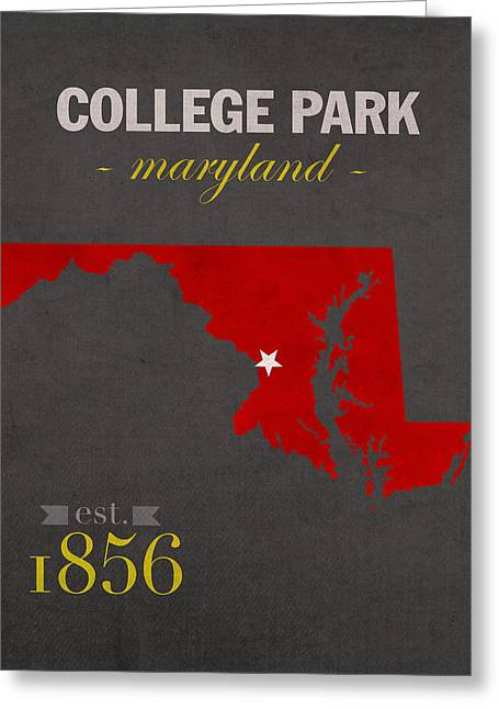 Duke Mixed Media Greeting Cards - University of Maryland Terrapins College Park College Town State Map Poster Series No 061 Greeting Card by Design Turnpike