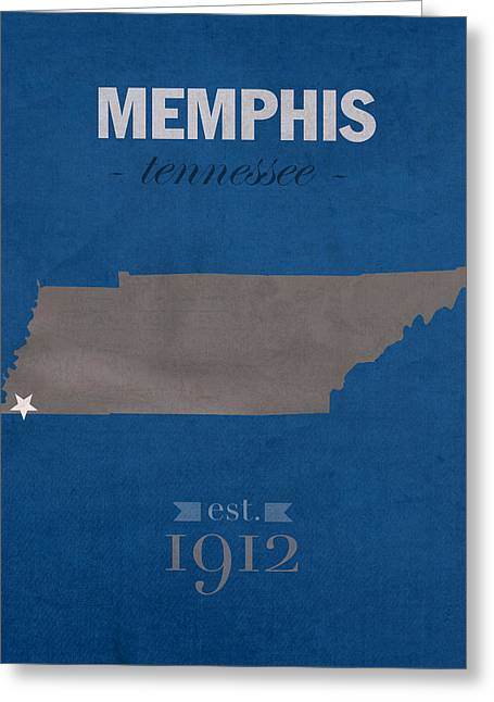 Town Mixed Media Greeting Cards - University of Memphis Tigers Tennessee College Town State Map Poster Series No 063 Greeting Card by Design Turnpike