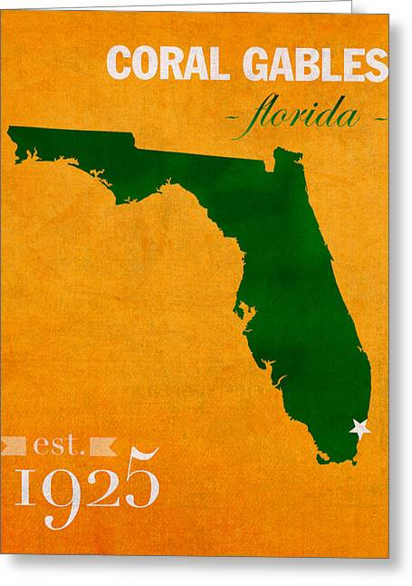 Miami Mixed Media Greeting Cards - University of Miami Hurricanes Coral Gables College Town Florida State Map Poster Series No 002 Greeting Card by Design Turnpike