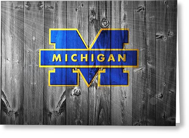 Duke Greeting Cards - University Of Michigan Greeting Card by Dan Sproul