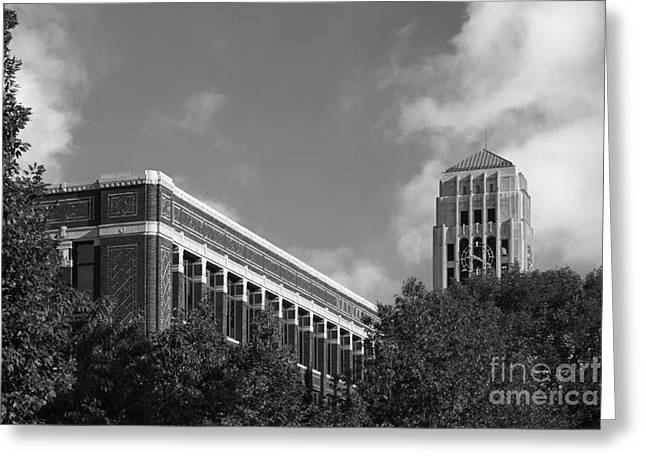 Small Towns Greeting Cards - University of Michigan Natural Sciences Building with Burton Tower Greeting Card by University Icons