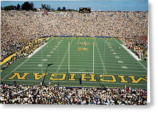 From Above Greeting Cards - University Of Michigan Stadium, Ann Greeting Card by Panoramic Images