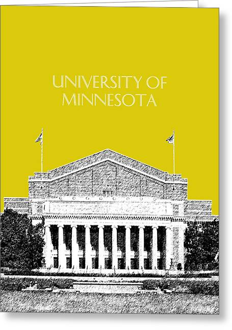 University Of Minnesota 2 - Northrop Auditorium - Mustard Yellow Greeting Card by DB Artist