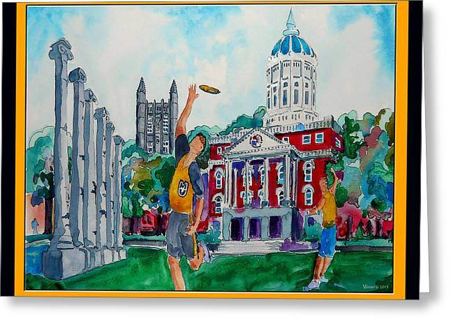 Student Union Paintings Greeting Cards - University of Missouri - Francis Quadrangle Greeting Card by Dennis Weiser
