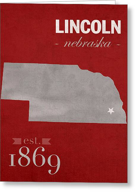 Town Mixed Media Greeting Cards - University of Nebraska Lincoln Cornhuskers College Town State Map Poster Series No 071 Greeting Card by Design Turnpike