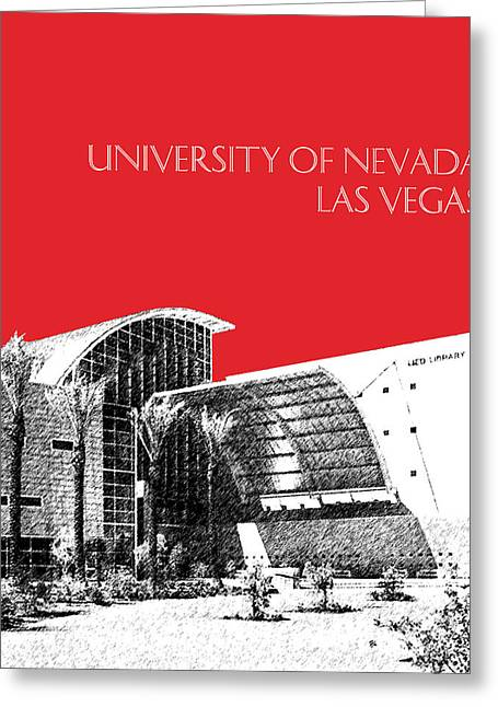 Library Greeting Cards - University of Nevada Las Vegas - Red Greeting Card by DB Artist