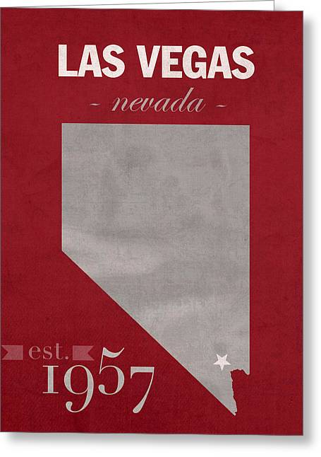 Town Mixed Media Greeting Cards - University of Nevada Las Vegas Rebels UNLV College Town State Map Poster Series No 073 Greeting Card by Design Turnpike